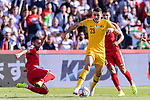 Tom Rogic of Australia (2nd R) competes for the ball with Abdallah Jaber of Palestine (L) during the AFC Asian Cup UAE 2019 Group B match between Palestine (PLE) and Australia (AUS) at Rashid Stadium on 11 January 2019 in Dubai, United Arab Emirates. Photo by Marcio Rodrigo Machado / Power Sport Images