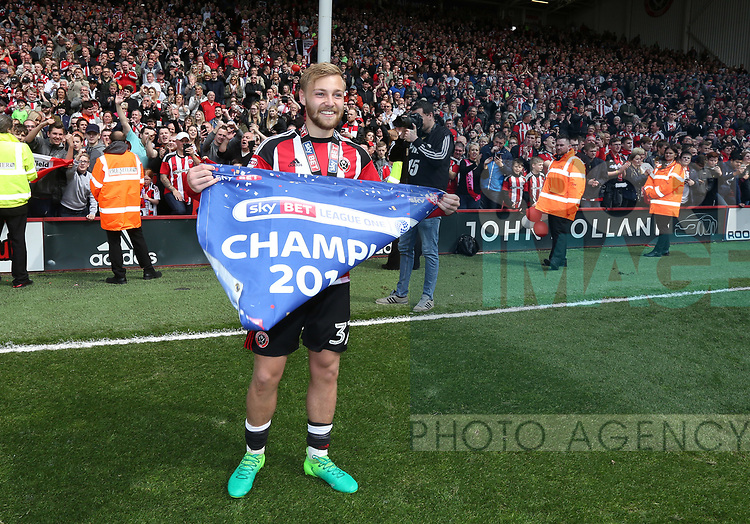 Sheffield United's Harry chapman celebrates  during the League One match at Bramall Lane, Sheffield. Picture date: April 30th, 2017. Pic David Klein/Sportimage