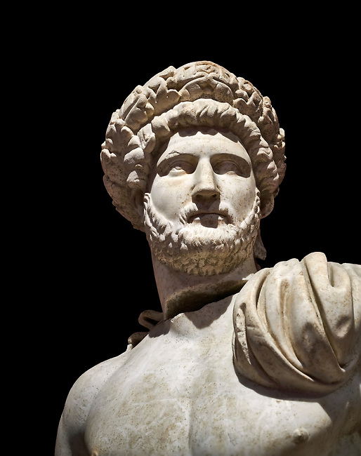 Roman statue of Emperor Hadrian .Marble. Perge. 2nd century AD. Inv no 3861-3863 .Antalya Archaeology Museum; Turkey. Against a black background.