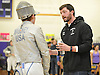 Kevin Oliver, Garden City boys' fencing coach, right, chats with Donal Mahoney during the Nassau County boys' fencing saber final at Oyster Bay High School on Saturday, Jan. 30, 2016.