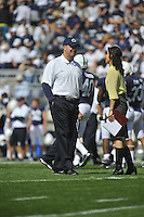 15 September 2012:  Penn State coach Bill O'Brien smiles while talking to a ESPN sideline reporter prior to the game..The Penn State Nittany Lions defeated the Navy Midshipmen 34-7 at Beaver Stadium in State College, PA..