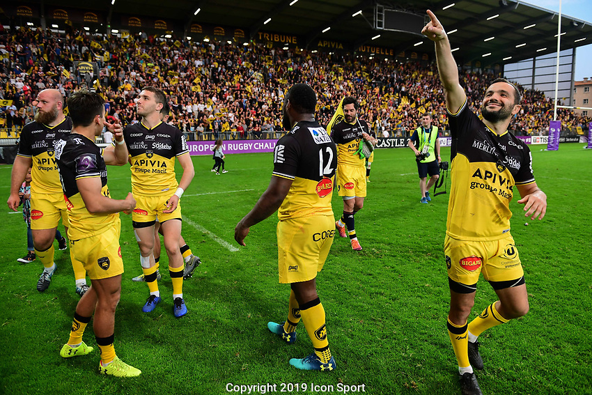 Alexi Bales of La Rochelle celebrates during the Challenge Cup semi final match between Stade Rochelais and Sale Sharks on April 20, 2019 in La Rochelle, France. (Photo by Anthony Dibon/Icon Sport)