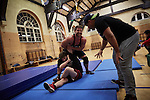 BERLIN 12.2016. German Wrestler RAMBO MICHEL BRAUN alias EL COMANDANTE RAMBO during training at GWF Wrestling School in Berlin Neukölln. BACK: Toni Tiger Harting<br /><br />Other trainers are: Crazy Sexy mike (Hussein Chaer, man with headband) and Ahmed Chaer (man with beard) (Photo by Gregor Zielke)
