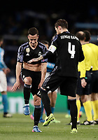 Football Soccer: UEFA Champions League Round of 16 second leg, Napoli-Real Madrid, San Paolo stadium, Naples, Italy, March 7, 2017. <br /> Real Madrid's  Lucas Vazquez (l) and Sergio Ramos (r) celebrates after winning the Champions League football soccer match between Napoli and Real Madrid at the San Paolo stadium, 7 March 2017. <br /> Real Madrid won 3-1 to reach the quarter-finals.<br /> UPDATE IMAGES PRESS/Isabella Bonotto