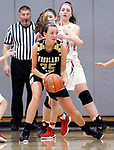 WOLCOTT CT. 10 December 2018-121018SV09-#25 Ava DeLucia of Woodland High looks to pass under pressure against Wolcott High during 1st quarter NVL basketball action in Wolcott Monday.<br /> Steven Valenti Republican-American