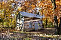 63895-16606 Cabin at Log Cabin Village in fall Kinmundy IL