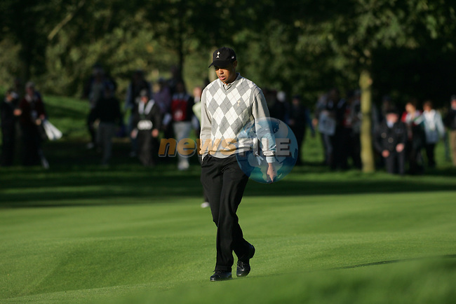 Straffin Co Kildare Ireland. K Club Ruder Cup...American Ryder Cup team members Tiger Woods walks alone down the forth fairway during the opening fourball session of the first day of the 2006 Ryder Cup, at the K Club in Straffan, Co Kildare, in the Republic of Ireland, 22 September 2006..Photo: Fran Caffrey/ Newsfile.