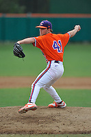 Junior pitcher Taylor Vetzel (41) (Spartanburg Methodist College) of the Clemson Tigers in a fall practice intra-squad Orange-Purple scrimmage on Sunday, September 27, 2015, at Doug Kingsmore Stadium in Clemson, South Carolina. (Tom Priddy/Four Seam Images)