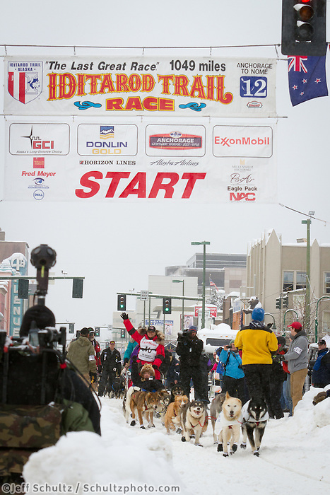 Jan Steves leaves the 2011 Iditarod ceremonial start line in downtown Anchorage, during the 2012 Iditarod..Jim R. Kohl/Iditarodphotos.com