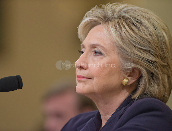 Former United States Secretary of State Hillary Rodham Clinton, a candidate for the 2016 Democratic Party nomination for President of the United States, testfies before the US House Select Committee on Benghazi on Capitol Hill in Washington, DC on Thursday, October 22, 2015.<br /> Credit: Ron Sachs / CNP/MediaPunch<br /> (RESTRICTION: NO New York or New Jersey Newspapers or newspapers within a 75 mile radius of New York City)