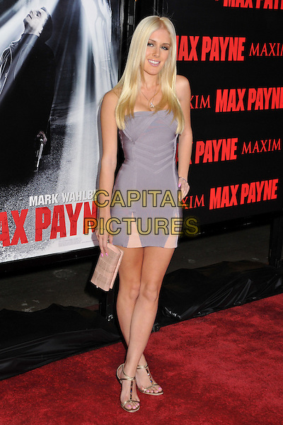 "HEIDI MONTAG .""Max Payne"" Los Angeles Premiere at Grauman's Chinese Theatre, Hollywood, California, USA..October 13th, 2008.full length purple dress pink clutch bag .CAP/ADM/BP.©Byron Purvis/AdMedia/Capital Pictures."