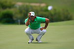 Johan Edfors (SWE) lines up his putt on the 1st green during the afternoon session on Day 2 of the Volvo World Match Play Championship in Finca Cortesin, Casares, Spain, 20th May 2011. (Photo Eoin Clarke/Golffile 2011)