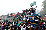 Millions Muslims fill every inch of space on trains as they return home from a religious festival.