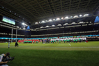 Pictured: Wales and Fiji players line up before kick off. Saturday 15 November 2014<br />