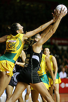16.11.2007 Australian Liz Ellis and Silver Ferns Irene Van Dyk in action during the Silver Ferns v Australia Final at the New World Netball World Champs held at Trusts Stadium Auckland New Zealand. Mandatory Photo Credit ©Michael Bradley. ***FREE FOR EDITORIAL USE***