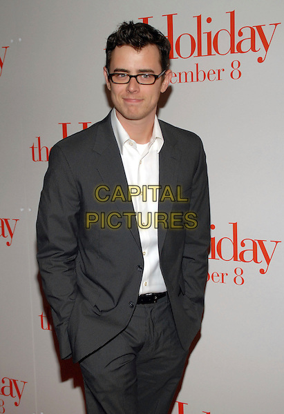 "COLIN HANKS.""The Holiday"" world premiere at the Ziegfeld Theater, New York, NY, USA..November 29th, 2006.half length grey gray suit hands in pockets.CAP/ADM/PH.©Paul Hawthorne/AdMedia/Capital Pictures *** Local Caption ***"