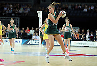 15.09.2018 South Africa's Maryka Holtzhausen in action during the Australia v South Africa netball test match at Spark Arena in Auckland. Mandatory Photo Credit ©Michael Bradley.