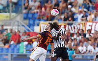 Calcio, Serie A: Roma vs Juventus. Roma, stadio Olimpico, 30 agosto 2015.<br /> Roma&rsquo;s Miralem Pjanic, left, and Juventus&rsquo; Paul Pogba jump for the ball during the Italian Serie A football match between Roma and Juventus at Rome's Olympic stadium, 30 August 2015.<br /> UPDATE IMAGES PRESS/Riccardo De Luca