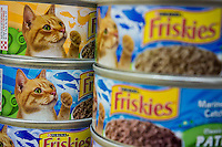 Cans of Little Friskies cat food  in an assortment of yummy flavors on a supermarket shelf in New York on Thursday, July 31, 2014. The brand is owned by the Nestlé Purina PetCare Company. (© Richard B. Levine)