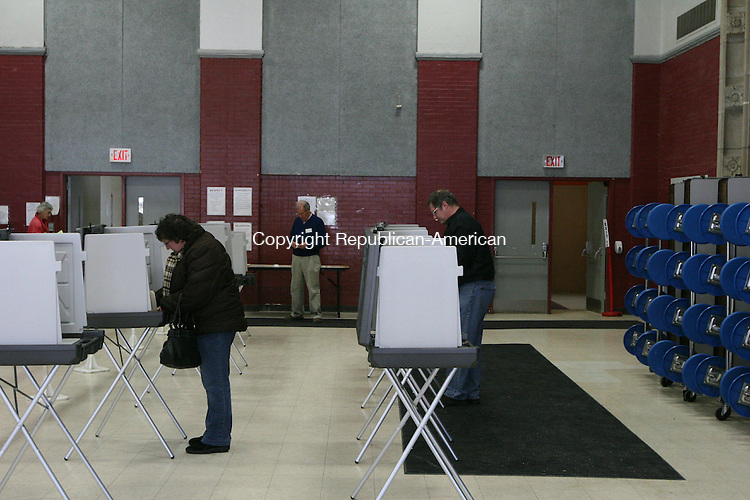 WINSTED, CT - 31 January, 2009 - 013109MO06 - Light turnout made for no waiting Saturday as Winsted voters cast ballots on the town's sixth 2008-09 budget proposal. Jim Moore Republican-American.