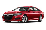 Stock pictures of low aggressive front three quarter view of a 2019 Honda Accord LX 4 Door Sedan