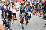 Green Jersey Alejandro Valvede (ESP) Movistar Team crosses the finish line at the end of Stage 20 of the La Vuelta 2018, running 97.3km from Andorra Escaldes-Engordany to Coll de la Gallina, Spain. 15th September 2018.                   <br /> Picture: Unipublic/Photogomezsport | Cyclefile<br /> <br /> <br /> All photos usage must carry mandatory copyright credit (&copy; Cyclefile | Unipublic/Photogomezsport)