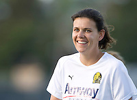 Christine Sinclair of Gold Pride is pictured smiling during practice before the game against Sky Blue at Castro Valley High School in Castro Valley, California on April 17th, 2010.  FC Gold Pride defeated NY/NJ Sky Blue, 3-1.