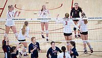 STANFORD, CA - December 1, 2018: Morgan Hentz, Kate Formico, Kathryn Plummer, Jenna Gray, Holly Campbell, Meghan McClure at Maples Pavilion. The Stanford Cardinal defeated Loyola Marymount 25-20, 25-15, 25-17 in the second round of the NCAA tournament.
