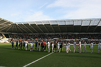 Pictured: Players from Swansea City and Cardiff City shake hands prior to kick off<br /> Re: Coca Cola Championship, Swansea City FC v Cardiff City at the Liberty Stadium. Swansea, south Wales, Sunday 30 November 2008.<br /> Picture by D Legakis Photography / Athena Picture Agency, Swansea 07815441513