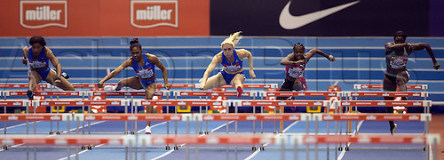 February 18th 2017,  Birmingham, Midlands, England; IAAF The Müller Indoor Grand Prix Athletics meeting; Sally Pearson (AUS) (centre) competing in the final of the Women's 60 Metres Hurdles; Current IAAF Indoor Oceania Record Holder