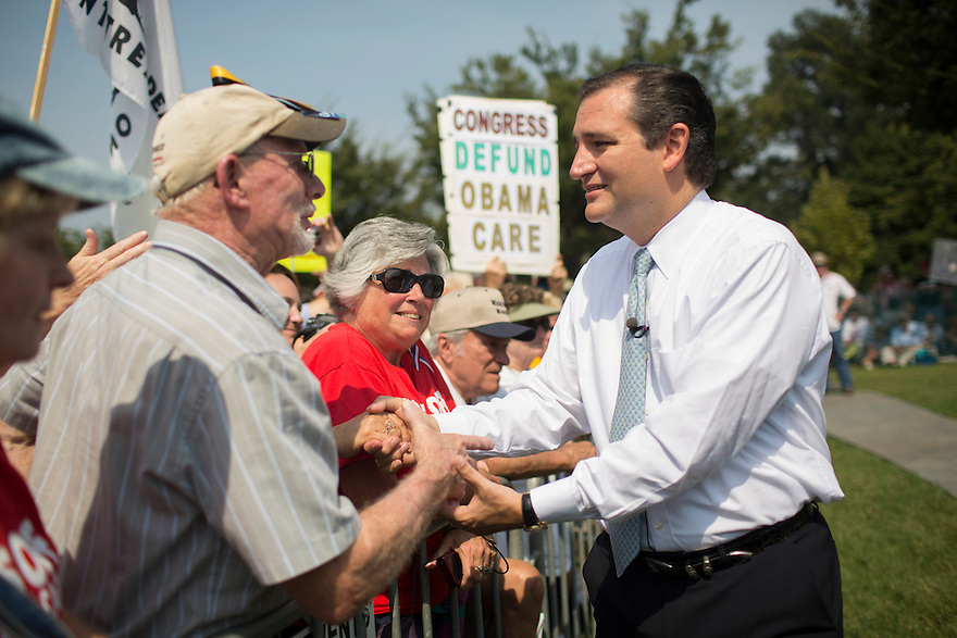 """Sen. Ted Cruz (TX) attends an  """"Exempt America from Obamacare"""" Tea Party rally on Capitol Hill in Washington."""