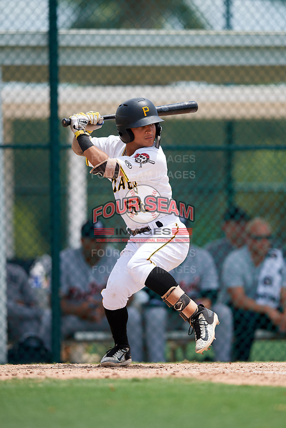 GCL Pirates second baseman Francisco Acuna (58) at bat during a game against the GCL Tigers West on August 13, 2018 at Pirate City Complex in Bradenton, Florida.  GCL Tigers West defeated GCL Pirates 5-1.  (Mike Janes/Four Seam Images)