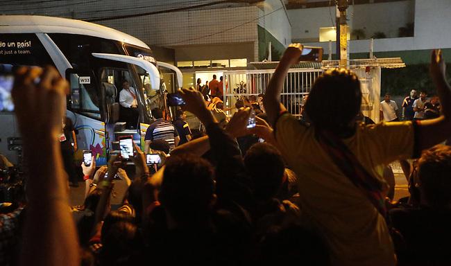 El omnibus con los jugadores de la Seleccion Colombia arriba al hotel Luzeiros de Fortaleza luego del entrenamiento en las afueras de la ciudad el  2 de Julio de  2014.<br /> <br /> Foto: /Archivolatino<br /> <br /> COPYRIGHT: Archivolatino<br /> Solo para uso editorial. No esta permitida su venta o uso comercial.