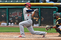 Pete Kozma (8) of the Memphis Redbirds at bat against the Salt Lake Bees at Smith's Ballpark on June 18, 2014 in Salt Lake City, Utah.  (Stephen Smith/Four Seam Images)