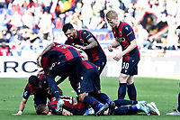Mattia Bani of Bologna celebrates with team mates after scoring a goal <br /> Bologna 27/10/2019 Stadio Renato Dall'Ara <br /> Football Serie A 2019/2020 <br /> Bologna FC - Sampdoria UC<br /> Photo Daniele Buffa / Image Sport / Insidefoto