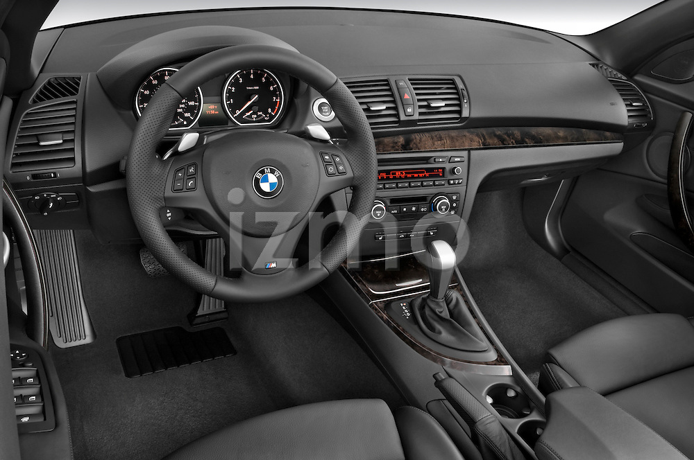 High angle dashboard view of a  2007 - 2011 BMW 1-Series 135i convertible.
