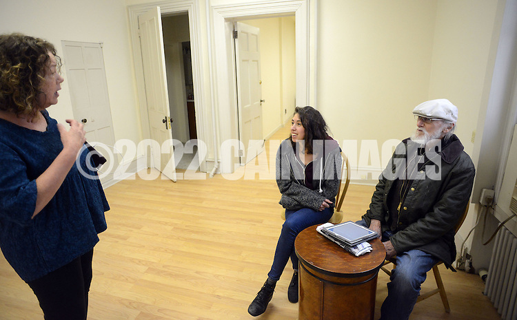 From left, Ann Zavoda, of Ottsville, Pennsylvania, Bucks County Campaign manager Lena Glickman of Philadelphia, Pennsylvania and Val Sigstedt of Point Pleasant, Pennsylvania converse in the new Bernie Sanders democratic campaign headquarters Saturday April 2, 2016 in Doylestown, Pennsylvania.  (Photo by William Thomas Cain)