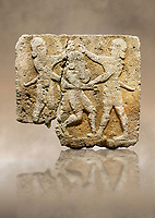 Hittite relief sculpted orthostat stone panel of Herald's Wall Limestone, Karkamıs, (Kargamıs), Carchemish (Karkemish), 900-700 B.C. Anatolian Civilisations Museum, Ankara, Turkey.<br /> <br /> This relief tells the story the killing of Humbaba, protective deity of the cedar forests, by Gilgamesh and Enkidu. The figures standing on both sides hold, with one hand, the arms of the figure in the middle transversally while they stab the dagger on the head of the figure.<br /> <br /> Against a brown art background.