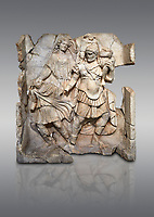 Roman Sebasteion relief  sculpture of Aineas' flight from Troy, Aphrodisias Museum, Aphrodisias, Turkey. <br /> <br /> Aineas in armour carries his aged farther Anchises on his shoulders and leads his young son Lulus by his hand. They are fleeing from the sack of Troy. The figure floating behind is Aphrodite, Aineas' mother: she is helping their escape. Old Anchises carries a round box that held images of Troy's ancestral gods.