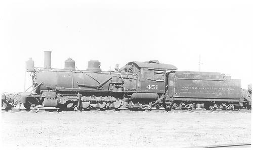 Fireman's side view of D&amp;RGW #451 on Alamosa dead line.<br /> D&amp;RGW  Alamosa, CO  Taken by Kindig, Richard H. - 7/4/1938