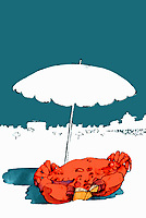 Crab reading book under beach umbrella