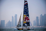 Competitors in action during Day 1 of the Act 3 Extreme Sailing Series Qingdao 2014 at Qingdao International Sailing Centre race during the  on May 1, 2014 in Qingdao, China. Photo by Xaume Olleros / Power Sport Images
