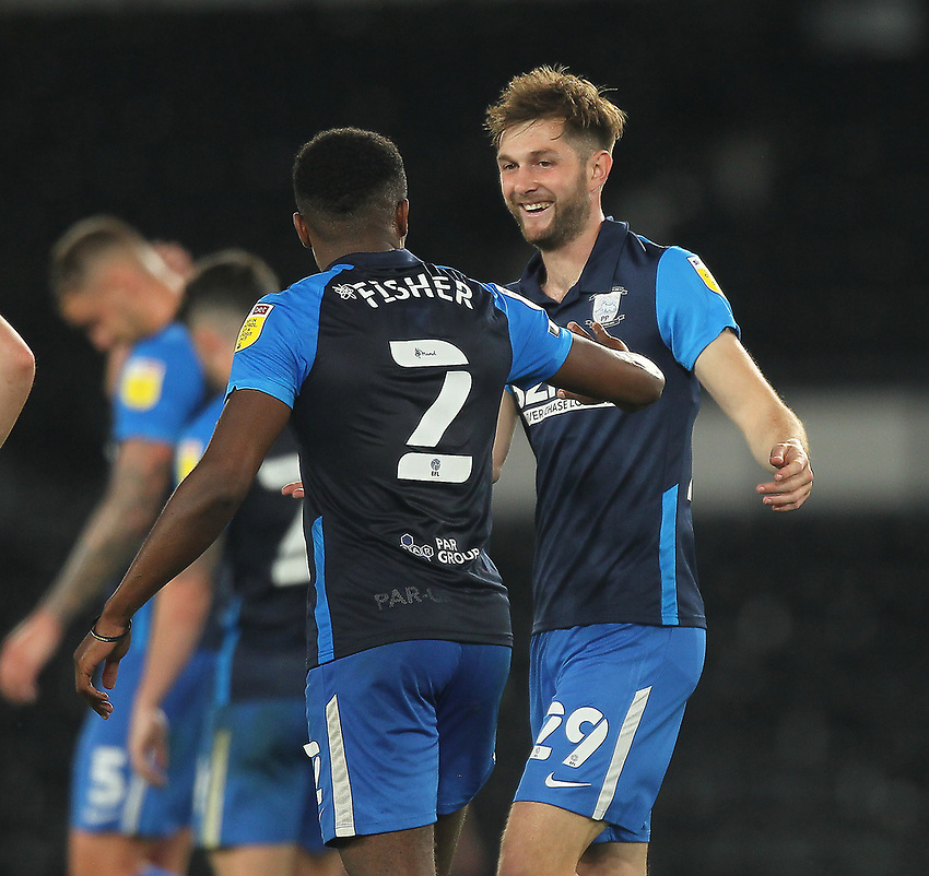 Preston North End's Tom Barkhuizen celebrates scoring his side's first goal <br /> <br /> Photographer Mick Walker/CameraSport<br /> <br /> Carabao Cup Second Round Northern Section - Derby County v Preston North End - Tuesday 15th September 2020 - Pride Park Stadium - Derby<br />  <br /> World Copyright © 2020 CameraSport. All rights reserved. 43 Linden Ave. Countesthorpe. Leicester. England. LE8 5PG - Tel: +44 (0) 116 277 4147 - admin@camerasport.com - www.camerasport.com