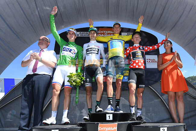 Jakob Fuglsang (DEN) Astana Pro Team wins the overall general classification, Koen Bouwman (NED) Lotto NL-Jumbo the mountains polka dot jersey, Arnaud Demare (FRA) FDJ the points green jersey and Emanuel Buchmann (GER) Bora-Hansgrohe the young riders white jersey of the Criterium du Dauphine 2017, running 115km from Albertville to Plateau de Solaison, France. 11th June 2017. <br /> Picture: ASO/A.Broadway | Cyclefile<br /> <br /> <br /> All photos usage must carry mandatory copyright credit (&copy; Cyclefile | ASO/A.Broadway)
