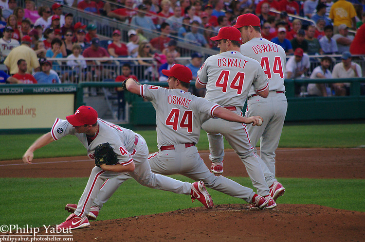 In his first start after being traded to the Phillies, righthander Roy Oswalt delivers a pitch against the Washington Nationals.