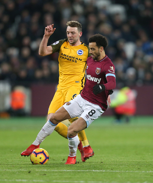 West Ham United's Felipe Anderson and Brighton & Hove Albion's Dale Stephens<br /> <br /> Photographer Rob Newell/CameraSport<br /> <br /> The Premier League - West Ham United v Brighton and Hove Albion - Wednesday 2nd January 2019 - London Stadium - London<br /> <br /> World Copyright © 2019 CameraSport. All rights reserved. 43 Linden Ave. Countesthorpe. Leicester. England. LE8 5PG - Tel: +44 (0) 116 277 4147 - admin@camerasport.com - www.camerasport.com