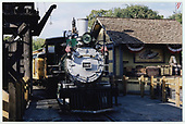A front view of D&amp;RGW #340 waiting to leave the Knott's Berry Farm depot with her excursion train.<br /> D&amp;RGW  Buena Park, CA  Taken by Dorman, Richard L. - 8/13/2003