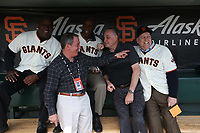 SAN FRANCISCO, CA - APRIL 8:  Jeffrey Leonard, Terry Whitfield, John The Count Montefusco, Mario Alioto, and Mike Murphy of the San Francisco Giants pose for a picture in the dugout before the game against the Los Angeles Dodgers at AT&T Park on Sunday, April 8, 2018 in San Francisco, California. (Photo by Brad Mangin)