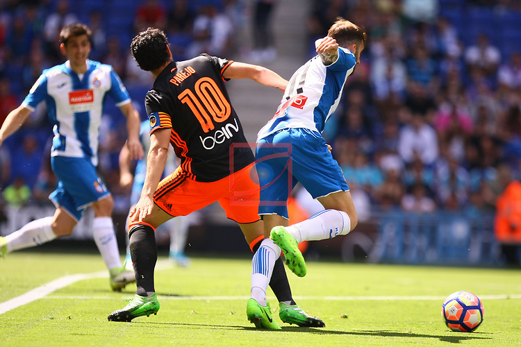 League Santander 2016/2017. Game: 37.<br /> RCD Espanyol vs Valencia CF: 0-1.<br /> Daniel Parejo vs Leo Baptistao.