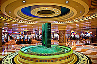 Fountain and slot machines inside Ceasars Trump Plaza, casino, Atlantic City, NJ, New Jersey